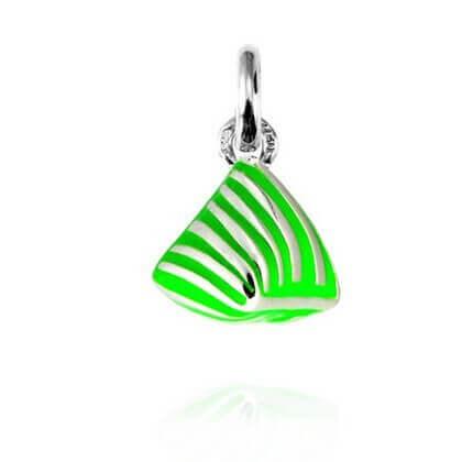 Pendentif Argent rhodié et Laque vert fluo - Mini Berlingot