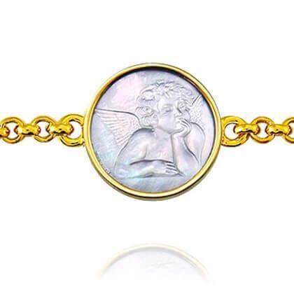 Bracelet de naissance Ange de Raphaël Nacre et Or jaune 18 carats - Ange de Raphaël