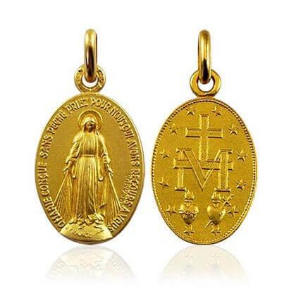 Médaille Vierge Miraculeuse Or jaune 18 carats  - Vierge Miraculeuse