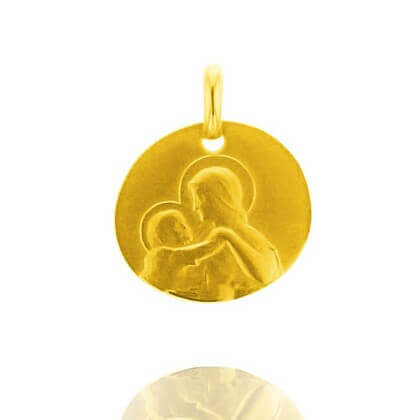 Galet Divine Tendresse 16 mm or jaune sablé
