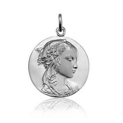 Médaille Vierge Adorazione Or blanc - 18 mm - Vierge Adorazione 18 mm or blanc