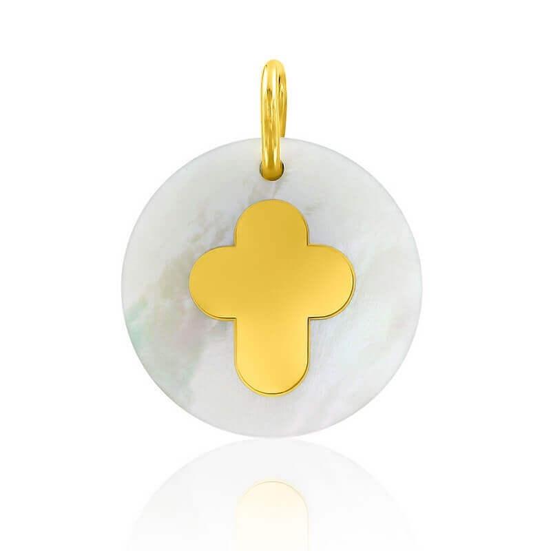 Médaille Croix Arrondie Marqueterie